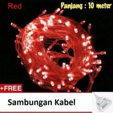 Lampu Tumblr Hias LED 10 Meter Merah + Free Colokan Sambungan Kabel