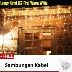 Lampu Tumblr Hias LED Tirai 3 Meter + Sambungan Kabel - Warm white