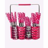 Beli Prime Set Peralatan Makan Sendok Garpu Pisau Set Motif Polkadot Stainless Steel 24 Pcs Pink Lengkap