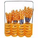 Harga Prime Set Peralatan Makan Sendok Garpu Pisau Set Motif Polkadot Stainless Steel 24 Pcs Orange Baru Murah