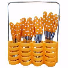 Toko Prime Set Peralatan Makan Sendok Garpu Pisau Set Motif Polkadot Stainless Steel 24 Pcs Orange Prime