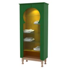 Pro Design Maqdis GDC Kabinet 2 Pintu Kaca - Forest Green Line - Gold Hairline - Khusus JAWA - BALI