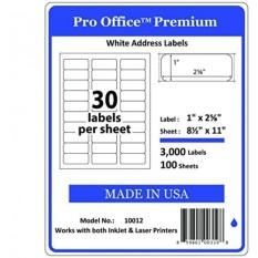 Pro Office Premium 3000 Self Adhesive Address Label untuk Printer Laser dan Ink Jet, Putih, Dibuat Di AMERIKA SERIKAT, 1x2.62 Inci, Paket 3000, Ukuran Sama Seperti 08160 dan Moree-Intl