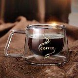 Spesifikasi Profesional Luxury Double Layered Coffee Cup Mug Kaca Borosilikat Panas Internasional