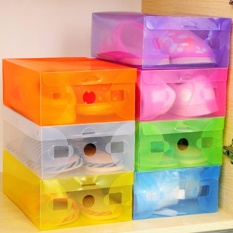 Spesifikasi Promo 10 Pcs Kotak Sepatu Transparan Warna Warni Multicolour Transparent Shoe Box Yg Baik