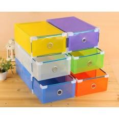 Promo 3 Pcs Kotak Sepatu Transparan Warna Warn I Multicolour With Frame Oem Diskon 30