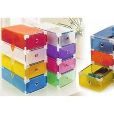 Promo Kotak Sepatu Transparan Gen 2 - Shoes Box Silver Frame Transpar Terlaris