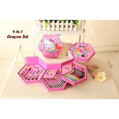 Jual Promosi 4 In 1 Crayon Set Hello Kitty 4 Tingkat Isi 46 Pcs Crayon Murah Crayon Murah