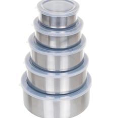 Protect Fresh Box - Rantang Stainless Steel Wadah Penyimpanan Makanan 5 Susun Dengan Tutup Plastik