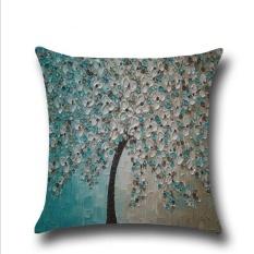 Beli Puding Oil Painting Pillow Case Blue Intl Yang Bagus