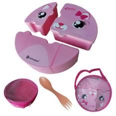 Harga Puzzle Lunch Box Set Kotak Makan Anak Edisi Cat Pink Technoplast Online