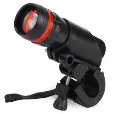 Q5 3 Watt Senter Sepeda Zoomable Tahan Air Dengan Pemegang Obor Merah Dengan Hitam Promo Beli 1 Gratis 1