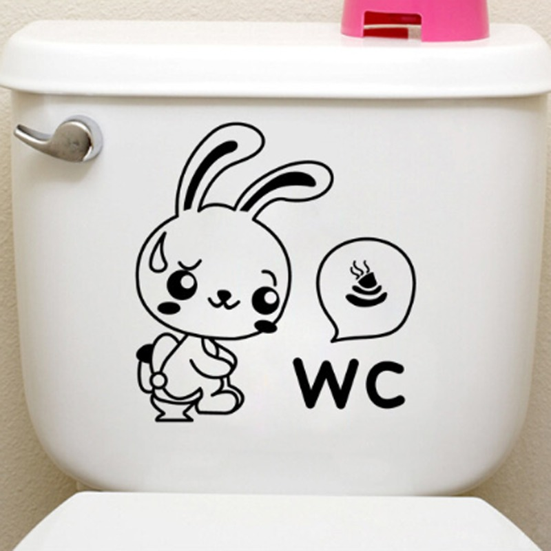 Rabbit WC Toilet Toilet Wall Decal PVC Rumah Sticker Rumah Vinyl Dekorasi Kertas WallPaper Ruang Tamu Kamar Tidur Dapur Art Picture DIY Murals Girls Boys Kids Nursery Baby Playroom Decor-Intl