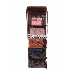 Toko Radysa Hanging Bag Organizer Rak Tas Gantung Coklat Radysa