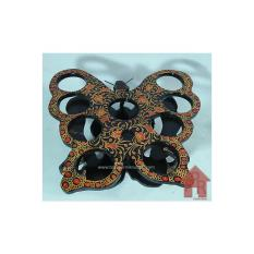 Rak aqua gelas - kayu batik model kupu - i9