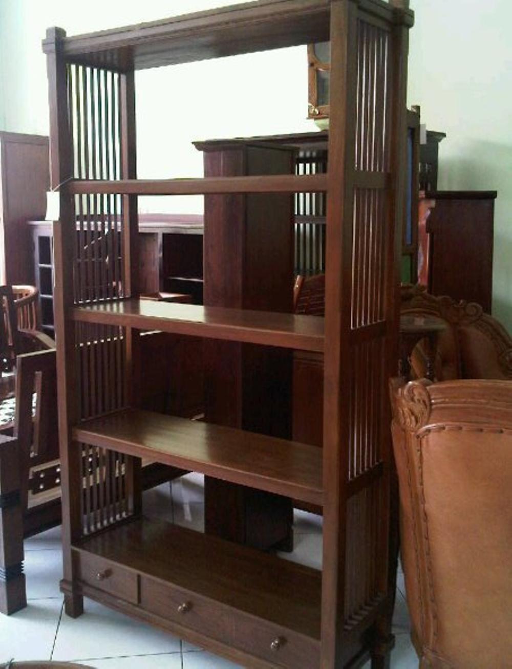 Rak Buku Jati 3 Laci Ruji Ruji Furniture Jepara