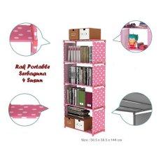 Harga Termurah Rak Buku Serbaguna 4 Susun Kecil Rak Portable Serbaguna Small Size Pink