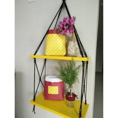 Rak Dinding 2 Susun Kuning Tali Hitam Minimalis- Vintage- Dapur- Kayu Gantung- Kamar Mandi- Shabby