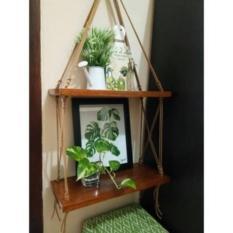 Rak Dinding 2 Susun Natural Tali Coklat Minimalis- Vintage- Dapur- Kayu Gantung- Rak Tali