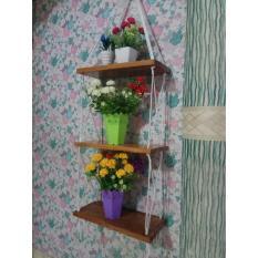 samju Rak Dinding 3 Susun Coklat Tali Putih Minimalis- Vintage- Dapur- Kayu Gantung- Kamar Mandi- Shabby
