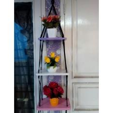 Rak Dinding 3 Susun Custom Kotak- Vintage- Dapur- Kayu Gantung- Kamar Mandi- Shabby
