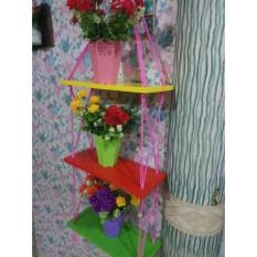 Rak Dinding 3 Susun Custom Tali Pink- Vintage- Dapur- Kayu Gantung- Kamar Mandi- Shabby