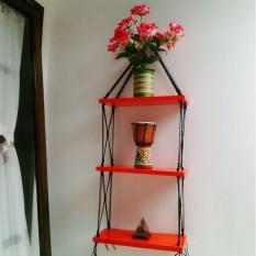 Rak Dinding 3 Susun Merah Tali Hitam Minimalis- Vintage- Dapur- Kayu Gantung- Kamar Mandi- Shabby