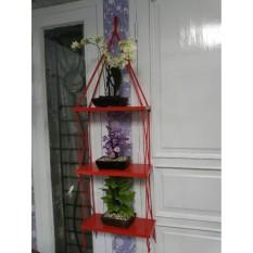 Rak Dinding 3 Susun Merah Tali Merah Minimalis- Vintage- Dapur- Kayu Gantung- Kamar Mandi- Shabby