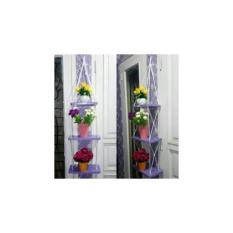 Rak Dinding 3 Susun Ungu Tali Putih Minimalis- Vintage- Dapur- Kayu Gantung- Kamar Mandi- Shabby