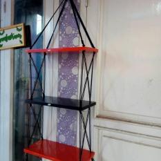 Rak Dinding Custom Susun 3 Tali Hitam Minimalis- Rak Kayu Dinding- Rak Tali