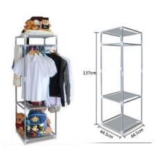 Rak gantung 3 tingkat besi / rak baju / rak boneka / rak sepatu / rak aksesories serbaguna
