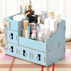Harga Rak Kosmetik Bahan Kayu Desktop Storage Kitty Cat Yang Bagus
