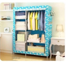 Rak Lemari Baju Cloth Rack With Multifungsi ( Lemari Kain Non Woven) - Warna BIRU