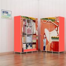 Rak lemari baju lemari pakaian gantung minimalis lemari pakaian portable lemari pakaian minimalis Red Girl 3 Kolom