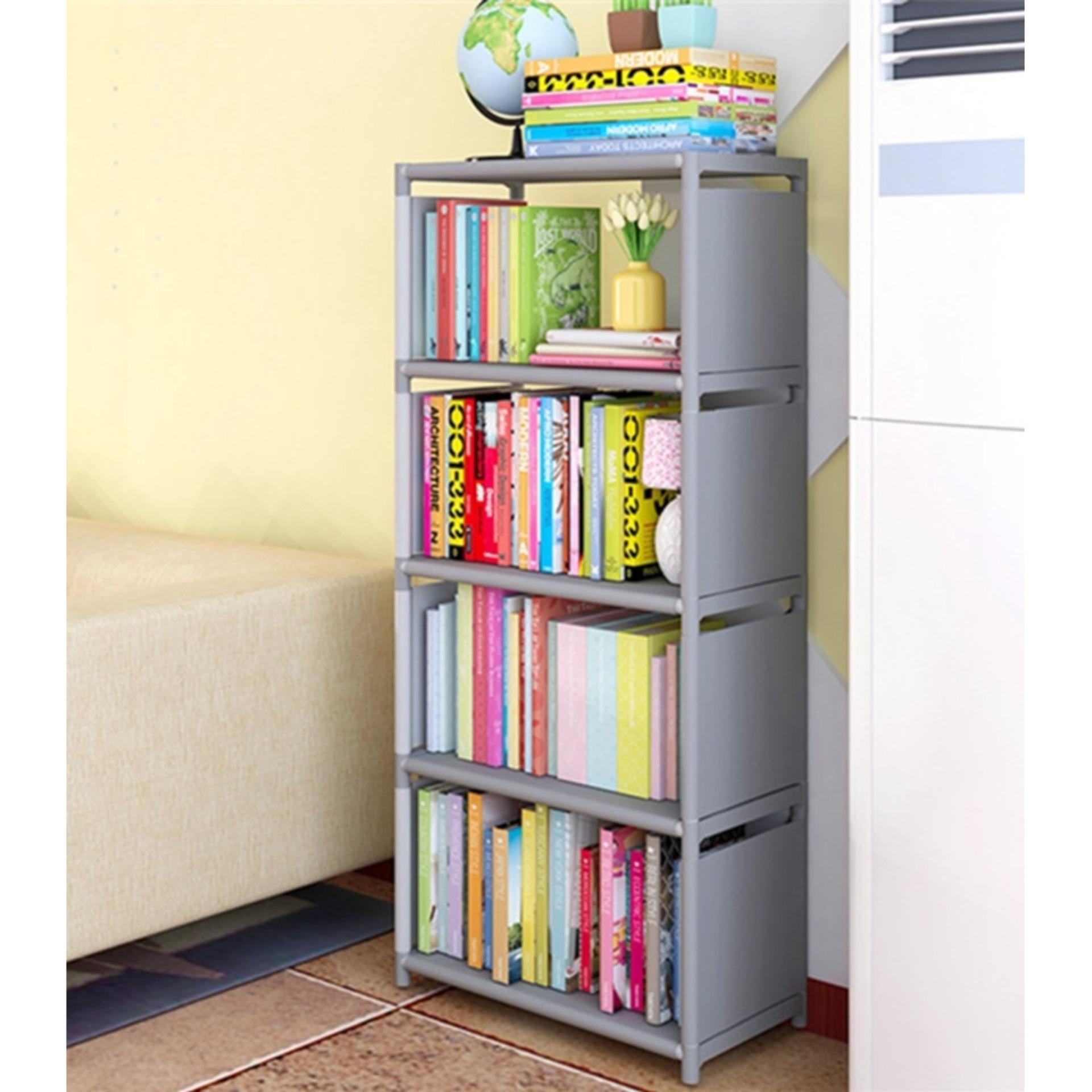 Rak Lemari Buku Serbaguna Portable 5 Susun = 4 Ruang Book Rack - ABU #17