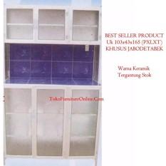 Rak Lemari Piring Dapur Alumunium Keramik 3 Pintu Rata