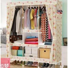 Rak Pakaian Lemari Besar dengan Rak Kayu - DIY-C9 - Pink
