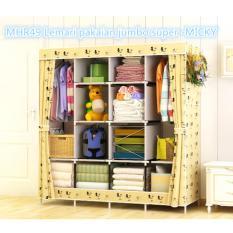 Rak Pakaian Plastik Furniture Murah Lemari Baju Gantung Lemari Handuk Lemari Sprei Handuk Tas Beigi Flower 4 Kolom