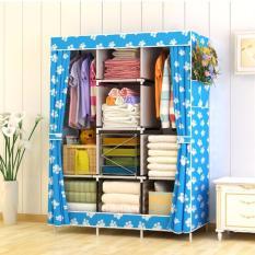 Rak Pakaian Plastik Furniture Murah Lemari Baju Gantung Lemari Handuk Lemari Sprei Handuk Tas Blue Feet 3 Kolom