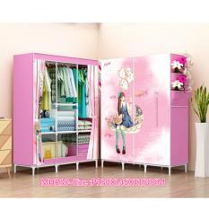 Rak Pakaian Plastik Furniture Murah Lemari Baju Gantung Lemari Handuk Lemari Sprei Handuk Tas Pink Girl 3 Kolom