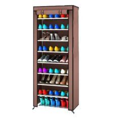 Spesifikasi Rak Sepatu 9 Sekat 10 Susun Shoe Rack With Dusk Cover Coklat Murah