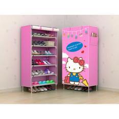 Rak Sepatu Furniture Murah Lemari Baju Lemari Tas Lemari  Sepatu Anak Rak Sepatu Kain Hello Kitty Travel 6 Ruang