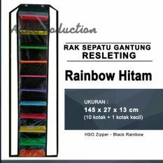 Rak Sepatu Gantung dengan Resleting warna Rainbow Hitam BESTSELLER