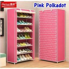 Rak sepatu keren rak plastik bertingkat lemari sandal sepatu rak sepatu bongkar  pasang rak sepatu sandal AK-8 Pink Polkadot 7 Tingkat
