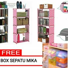 Rak Sepatu / Rak Buku / Rak Serbaguna / Rak Multifungsi  4 Susun 5 Sekat PINK - Free Box Sepatu Mika