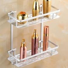 rak sudut 2 susun aluminium / rak dapur double tempat sabun pojok shampo kamar mandi 2 tingkat