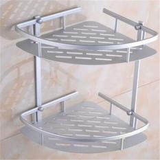 Jual Rak Sudut Dinding Organizer Toilet Dua Susun Dual Tier Shelf Aluminium Minimalis Serbaguna Silver Vococal Grosir