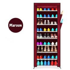 Rak tas rak susun rak sepatu anak rak sepatu rak sepatu lemari tempat sandal rak sepatu modern XG-10 Maroon 10 Susun 9 Tingkat