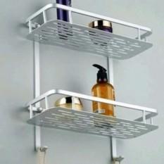 Rak Toilet Alumunium 2 Tingkat / Rak Kamar Mandi / Rak Sabun Aluminium / Rak Shampo Tempat Gantung