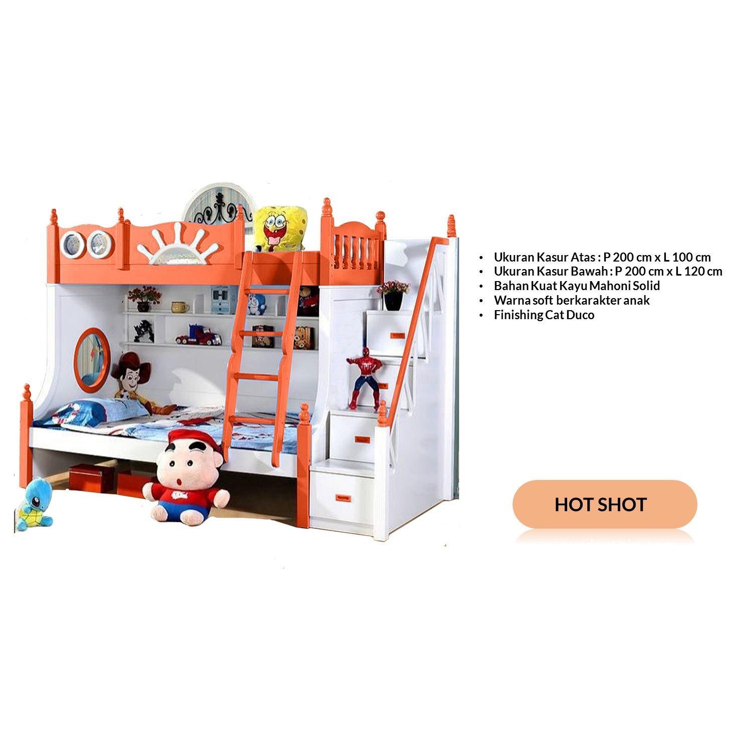 Ranjang Tempat Tidur Tingkat Anak Kt- 0001 ( Deep Safron )
